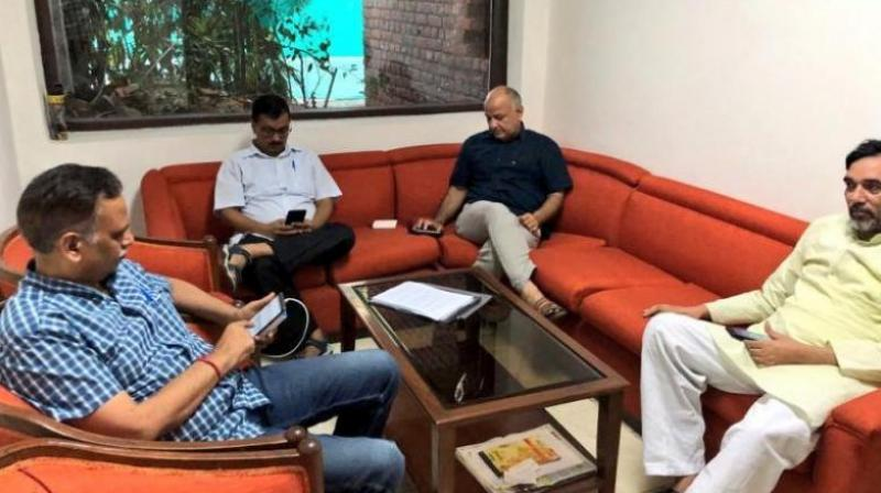 The L-G's office slammed Delhi CM Arvind Kejriwal's sit-in, saying it was one more 'dharna without reason'. (Photo: Twitter/@ArvindKejriwal)