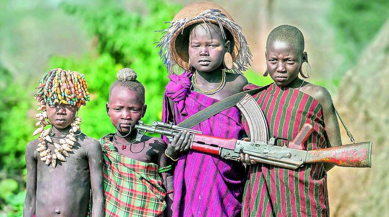 Gun and kids, Ethiopia