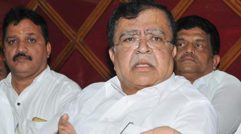 Congress leader K.N. Rajanna addresses media in Tumakuru on Sunday.