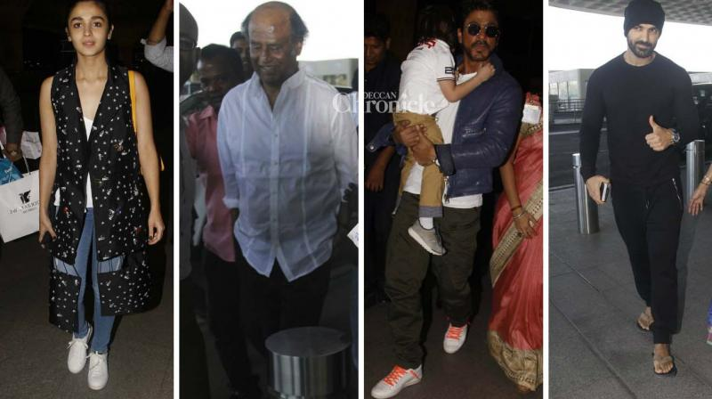 Rajinikanth, Shah Rukh Khan, Alia Bhatt, John Abraham and several other stars were seen at the Mumbai airport on Monday. (Photo: Viral Bhayani)