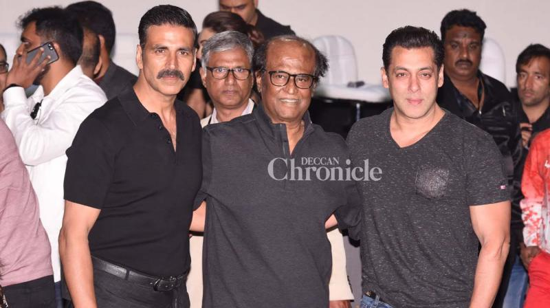 Salman Khan made a surprise apperance at the first look launch of Rajinikanth-Akshay Kumar's '2.0', also starring Amy Jackson and directed by Shankar. (Photo: Viral Bhayani)