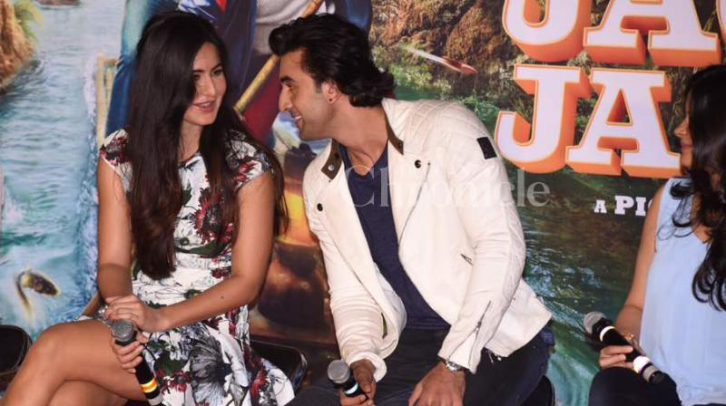 Ex-lovers Ranbir Kapoor and Katrina Kaif came together at their jovial best, promoting Anurag Basu's 'Jagga Jasoos' at the launch of the film's song 'Galtise Mistake'. (Photo: Viral Bhayani)