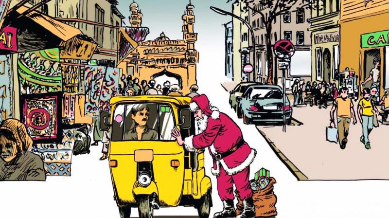 Santa Claus seen negotiating with an auto driver.