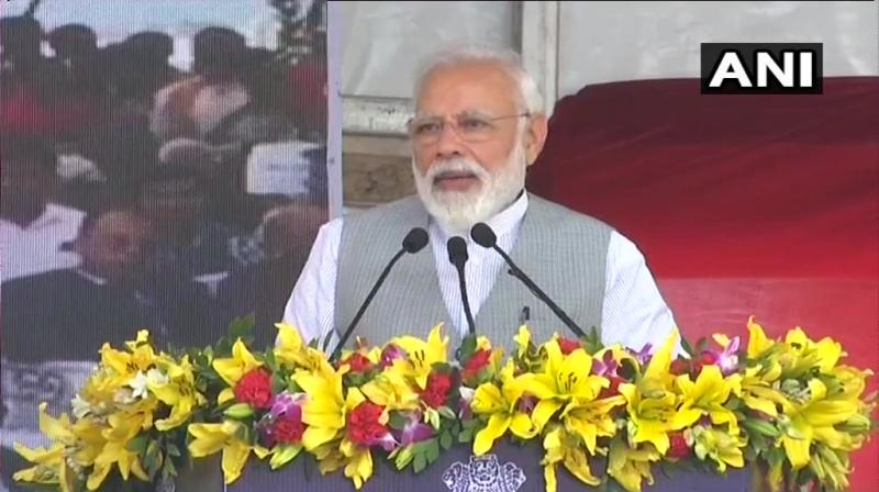 fter the inauguration, PM held a public address here claiming the progress by the Modi-led BJP government in Uttar Pradesh. (Photo: Twitter/ANI)