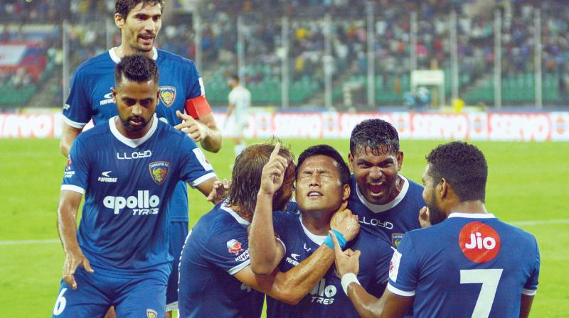 Jeje Lalpekhlua (centre) of Chennaiyin FC celebrates with his teammates after scoring against FC Goa in the second leg of their Indian Super League semifinal, at the Jawaharlal Nehru Stadium in Chennai on Tuesday (Photo: DC)