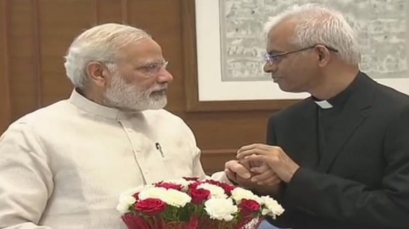 Vatican priest Father Tom Uzhunnalil, from Kerala, met Prime Minister Narendra Modi and External Affairs Minister Sushma Swaraj after arriving in Delhi on Thursday morning. (Photo: ANI/Twitter)