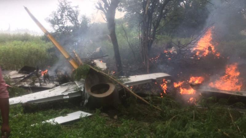A trainer aircraft of the Indian Air Force on Thursday crashed in Keesara village in the Medchal district of Telangana. (Photo: ANI/Twitter)