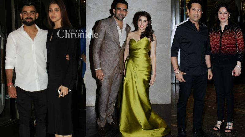 Celebrities from Bollywood and the cricketing world converged at the engagement function of cricketer Zaheer Khan with actress Sagarika Ghatge held in Mumbai on Tuesday. (Photo: Viral Bhayani)