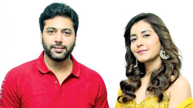 Jayam Ravi and Raashi Khanna in Adanga Maru