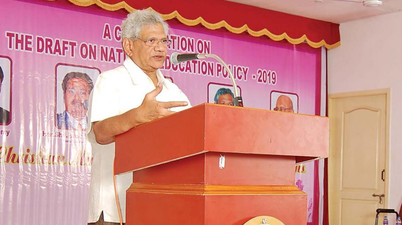 Senior CPI(M) leader and the party's general secretary Sitaram Yechury addresses the National Consultation on NEP organised by the consortium of Christian Minority Higher Educational Institutions at Tiruchy on Sunday. (Photo: DC)