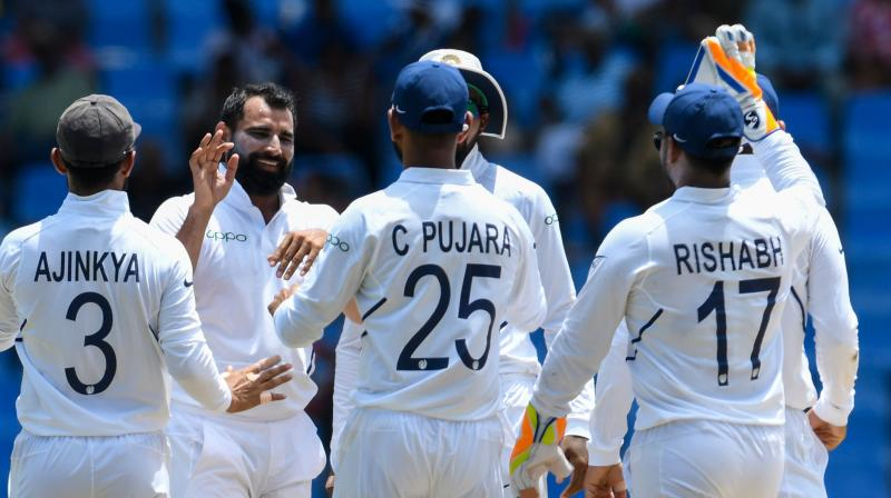 Ishant Sharma bagged five wickets while Bumrah, Shami, and Jadeja scalped one wicket each. (Photo: AFP)