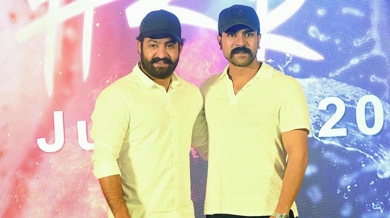 Jr NTR and Ram Charan during a press conference