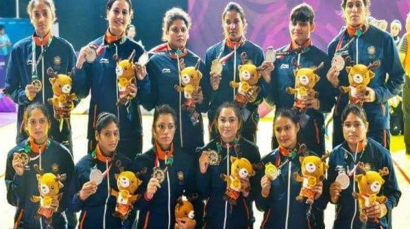 Indian women's Kabaddi team that won a silver medal in the ongoing Asian Games in Jakarta