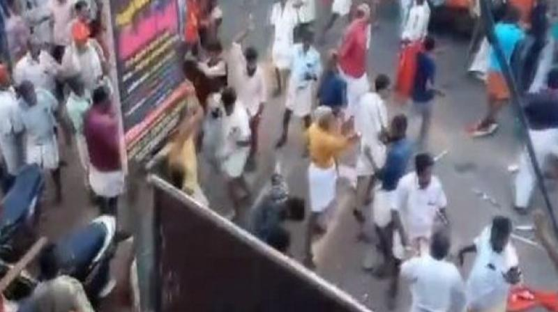 Violence was witnessed between cadres of political rivals in other parts of the state as well, forcing police to resort to lathi-charge and firing tear gas to disperse warring crowds. (Photo: Screengrab)