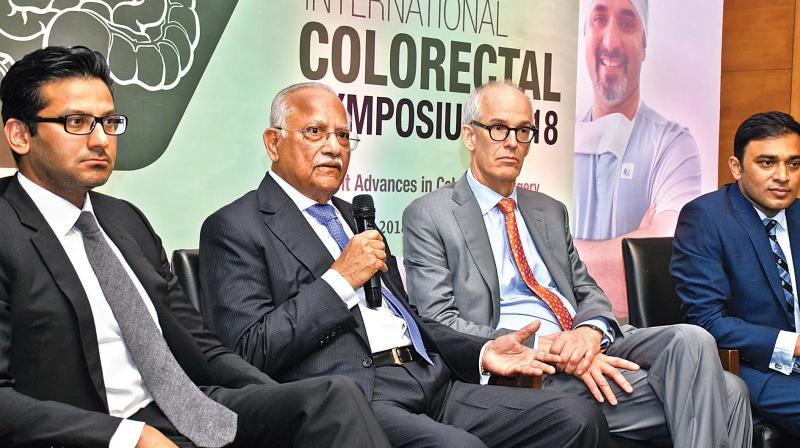 Dr Prathap C Reddy, executive chairman of Apollo Hospitals Group, addresses the media announcing the launch of 2nd Apollo International Colorectal Symposium 2018. (Photo: DC)