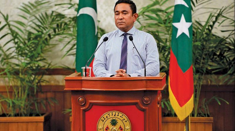 Maldives President Yameen Abdul Gayoom addressing the nation in Male, Maldives. (Photo: AP)