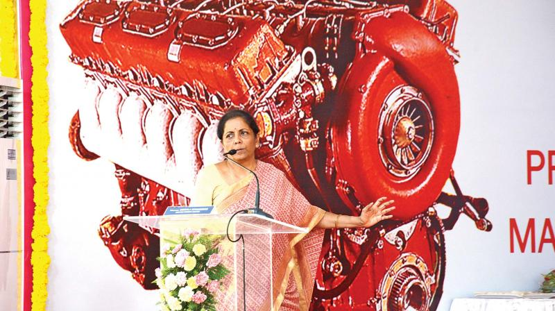 Union defence minister Nirmala Sitharaman speaks at the handing over event of indigenized high power diesel engines to Indian Army at Avadi Engine Factory, on Saturday.  (Photo:DC)