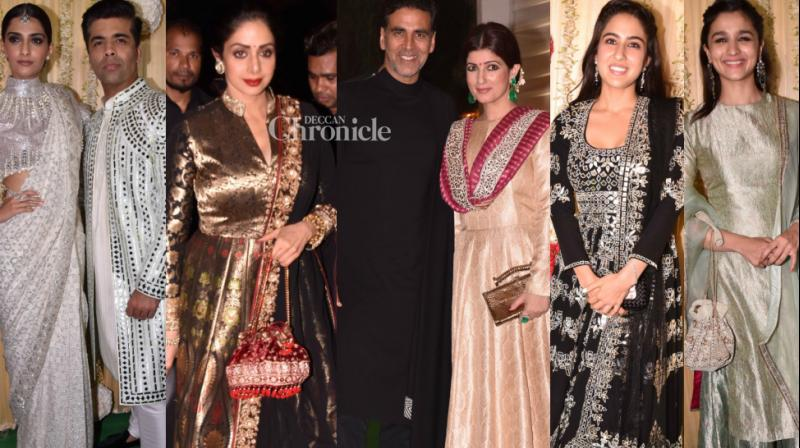 Bollywood stars turned up in their traditional best at a Diwali bash hosted by Ekta Kapoor in Mumbai on Tuesday. (Photo: Viral Bhayani)