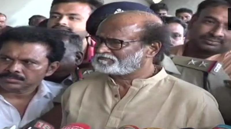 Superstar Rajinikanth also warned Tamil Nadu will become a 'graveyard' if there were too many agitations. (Photo: Twitter/ANI)