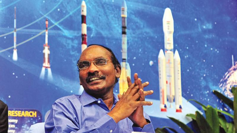 Dr K. Sivan, chairman, Isro, addresses a press conference in Bengaluru on  Friday. (DC)