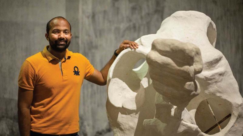 Prabhakar Pachpute's works exhibited at Kochi-Muziris Biennale.