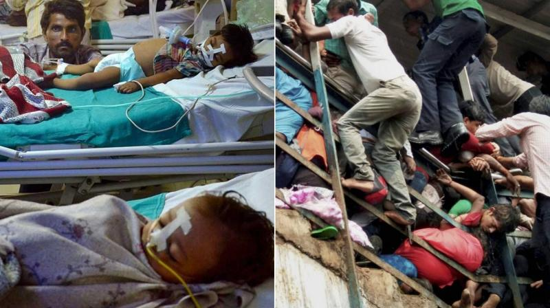 BRD hospital in Uttar Pradesh, where hundreds of children died due to lack of oxygen (left) and victims of stampede at Elphinstone Road railway station in Mumbai (right). (Photos: PTI)