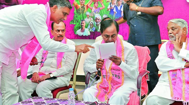 Irrigation minister T. Harish Rao, Chief Minister K. Chandrasekhar Rao, Deputy CM Mohd. Mahmood Ali and MP K. Kesava Rao. (Photo: DC))