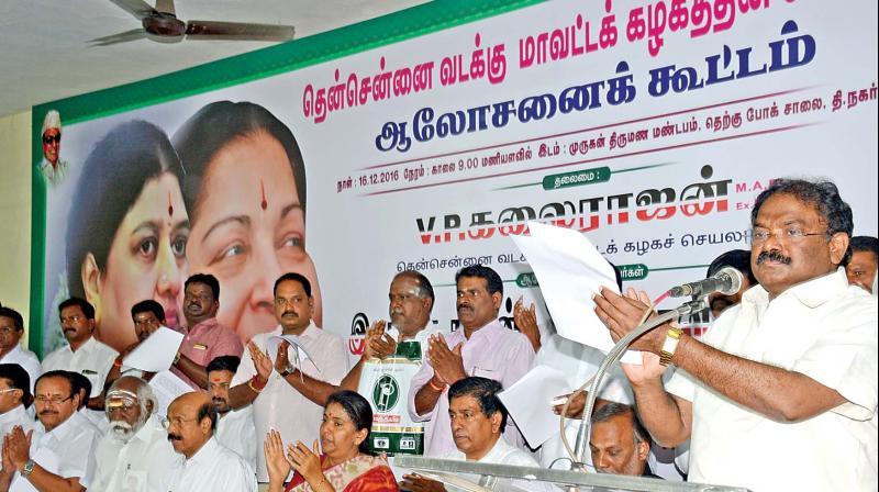 AIADMK South Chennai district unit secretary V.P. Kalairajan moving the resolutions at its meeting in T Nagar on Saturday. (Photo: DC)