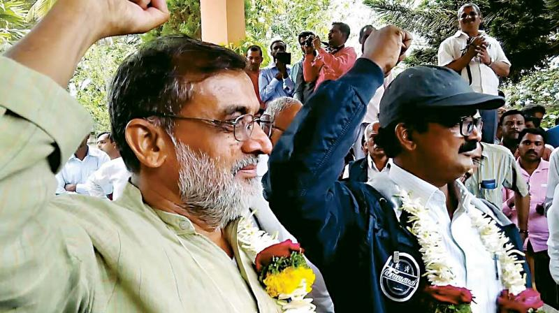 Naxal leaders Sirimane Nagaraj and Noor Sridhar at the time of their return to mainstream in December 2014.