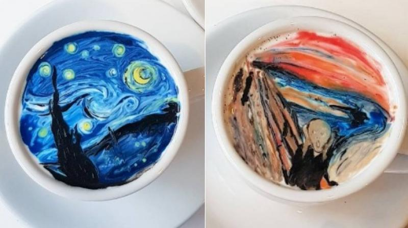 "Vincent van Gogh's ""The Starry Night"" and Edvard Munch's ""The Scream"" on cup of coffee. ( Photo: Instagram / leekangbin91)"