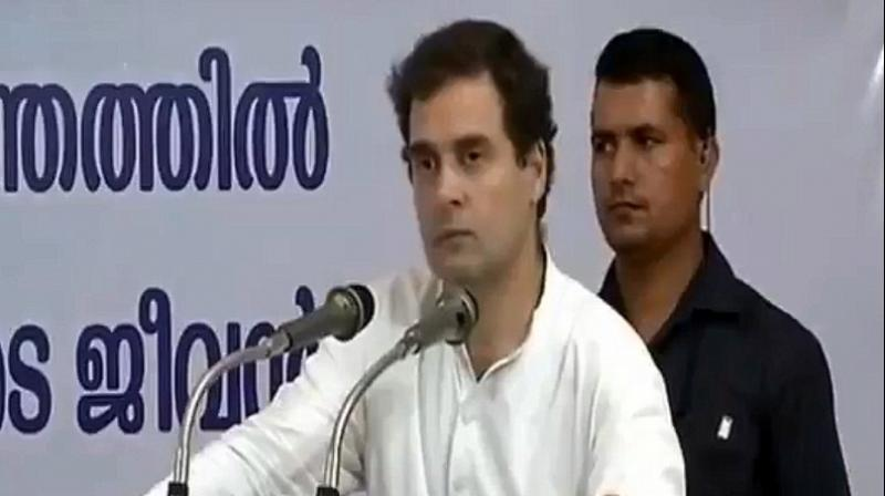 'I am proud to say that through all your difficulties... through all your hardships... whenever Kerala needed you... you stood up and gave your best. I salute your commitment to the people of Kerala,' Congress president Rahul Gandhi said. (Photo: Screengrab | Twitter | @INCIndia)