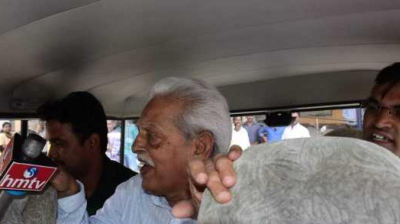 Varavara Rao was produced before a local court at Nampally for a transit warrant. He is to be shifted to Pune for further inquiry. (Photo: PTI)