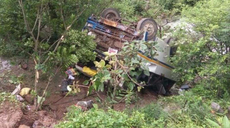 Two passengers died on the spot while the injured were rushed to a hospital in Rishikesh where the condition of five was stated to be serious. (Photo: Twitter | @ANI)