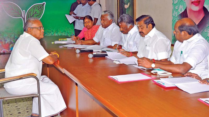 The ruling AIADMK's Parliamentary Board whose members include party Coordinator and Deputy CM O. Panneerselvam and Joint Coordinator and CM Edappadi K. Palaniswami, on Monday commenced the process of selecting the candidates for the April 18 Lok Sabha elections in the State, by interviewing the ticket aspirants. (Photo: DC)
