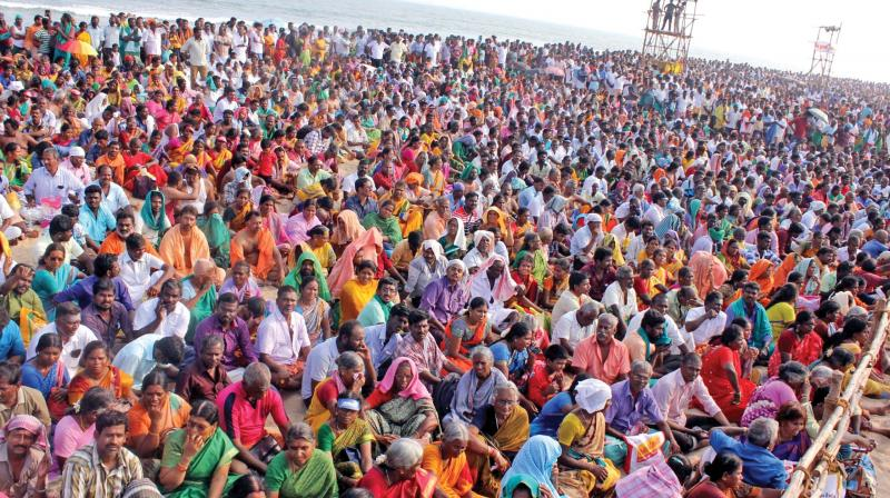 Over five lakh devotees witnessed the 'Soorasamharam' event on the sixth day of the 'Kanda Sashti' festival on Tuesday at Tiruchendur - the second abode of Lord Muruga. 	Image: DC