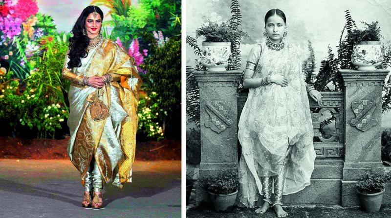 Bollywood actress Rekha and (R) the wife of a former Nizam of Hyderabad.