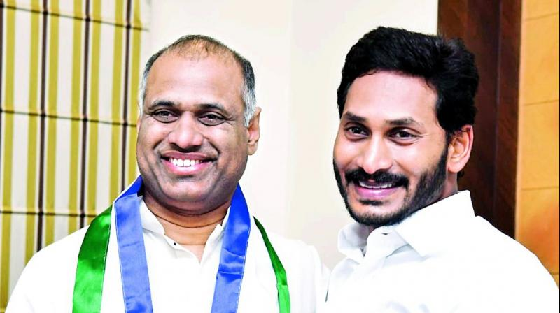 Industrialist Potluri Vara Prasad joins YSR Congress in the presence of its president in Hyderabad on Wednesday.