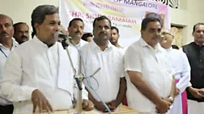 A file photo of former Chief Minister Siddaramaiah addressing a gathering in Mangaluru
