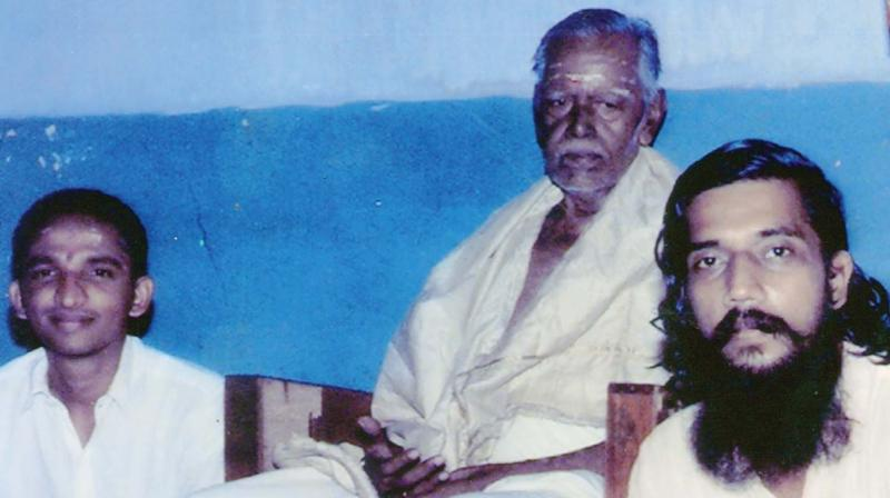 Sekhar and Padmanabhan, two of his prominent disciples, with  V.K. Subramanya Sarma