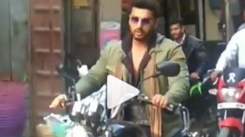 Arjun Kapoor on the streets of Chandigarh.