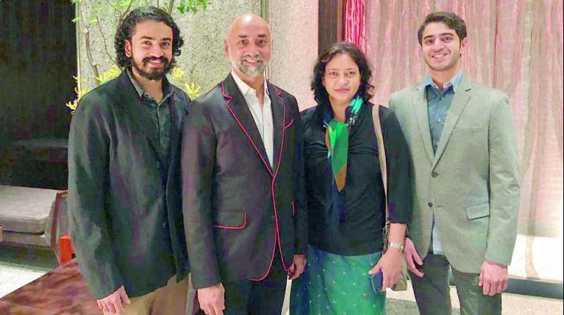 Both the sons of Jayadev Galla, Managing Director of the Amara Raja Group — Ashok and Siddharth — are interested in pursuing a career in acting; (in photo) Jayadev Galla with his sons and wife.
