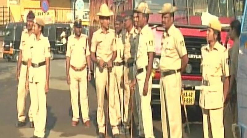 Police deployed in Karnataka's Kalaburagi ahead of Tipu Jayanti. (Photo: ANITwitter)