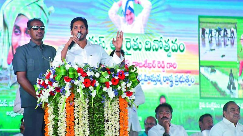 Chief Minister Y.S. Jagan Mohan Reddy addresses a public meeting in Kadapa district on Monday. (Photo: DC)