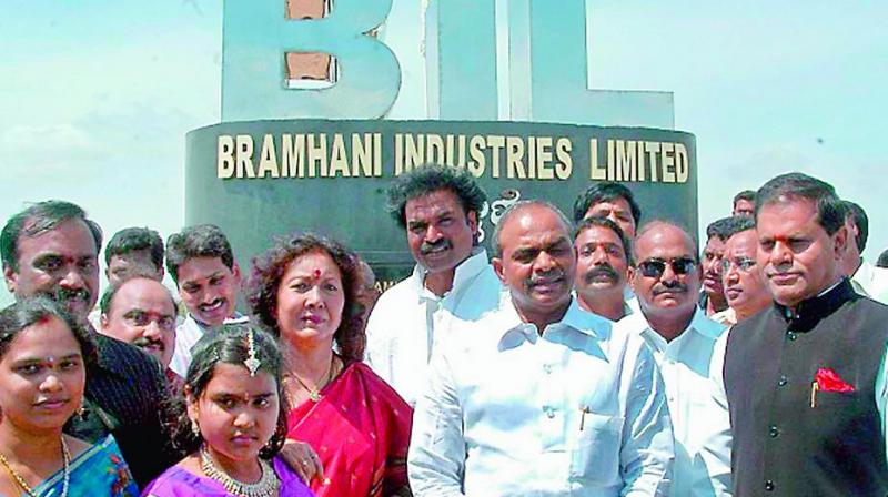 A file photo of former chief minister Y.S. Rajasekhar Reddy at Brahmani Steel plant pylon.