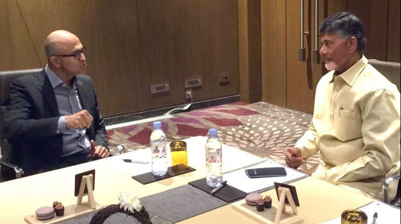 AP Chief Minister N. Chandrababu Naidu with Microsoft CEO Satya Nadella in Mumbai, on the sidelines of an event titled 'Future Decoding'.