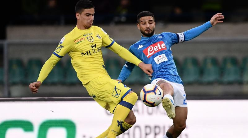 Two goals from Kalidou Koulibaly either side of an Arkadiusz Milik strike confirmed Chievo's demotion despite Bostjan Cesar's late consolation, after a miserable season in which the Verona club have recorded just one win in 32 games. (Photo: AFP)
