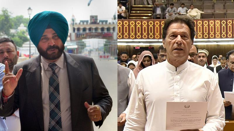 The ceremony was attended by former cricketer and Congress leader Navjot Singh Sidhu, who arrived in Pakistan yesterday, legendary pacer Wasim Akram, top officials from the Pakistan Army, Air Force and Navy, among a host of other high-profile dignitaries. The ceremony was also graced by his wife Bushra Maneka. (Photo: PTI / AFP)