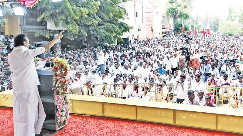 DMK chief M. K. Stalin addresses massive poll rally at Periyakulam on Wednesday.  (DC)