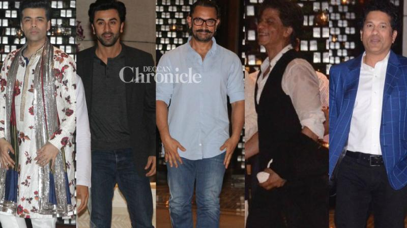 Bollywood stars turned up for a party hosted by Mukesh Ambani to celebrate the news of his daughter's engagement. (Photo: Viral Bhayani)