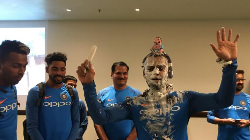 Virat Kohli, who now is the second highest four-hitter in Twenty20 cricket, received a special cake treatment as he turned 29 on November 5. (Photo: Twitter / BCCI)